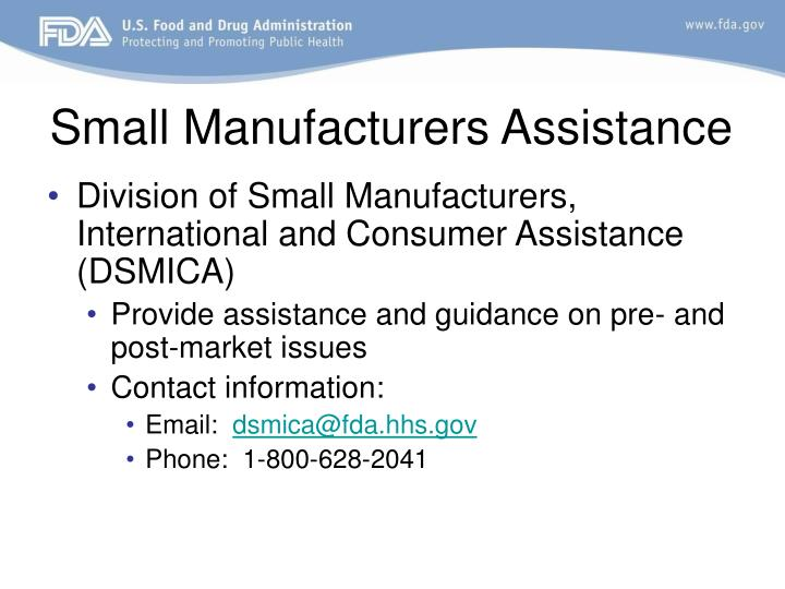 Small Manufacturers Assistance