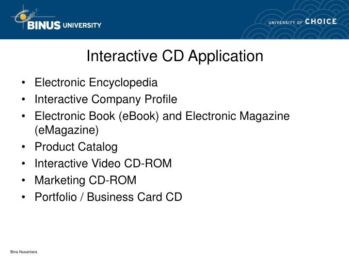 Interactive CD Application