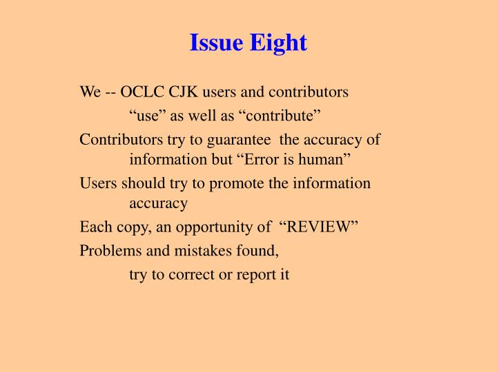 Issue Eight