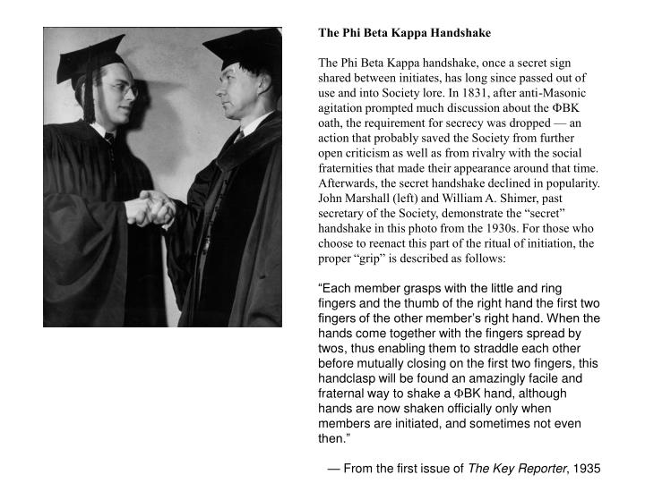 The Phi Beta Kappa Handshake