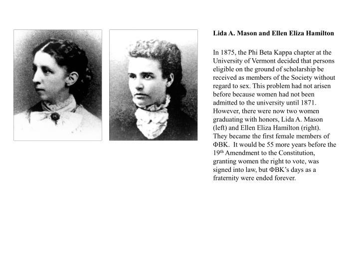 Lida A. Mason and Ellen Eliza Hamilton