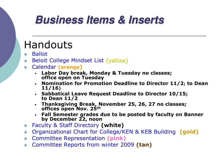 Business Items & Inserts