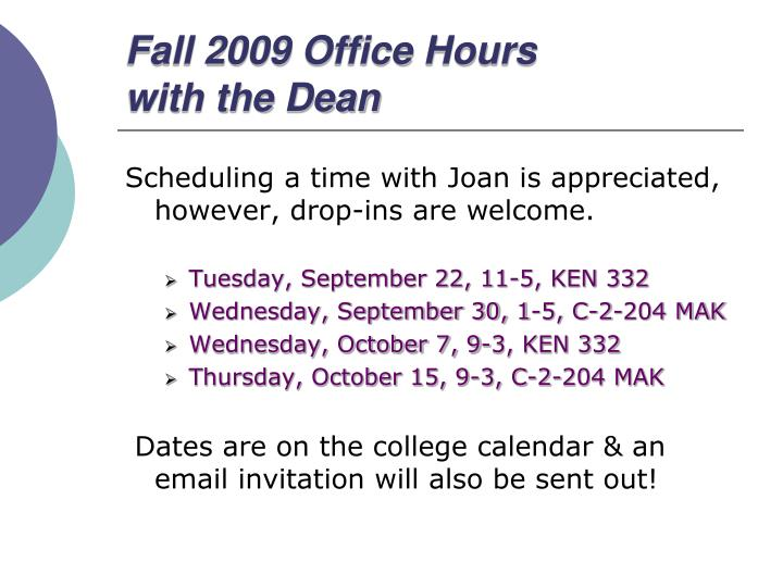Fall 2009 Office Hours