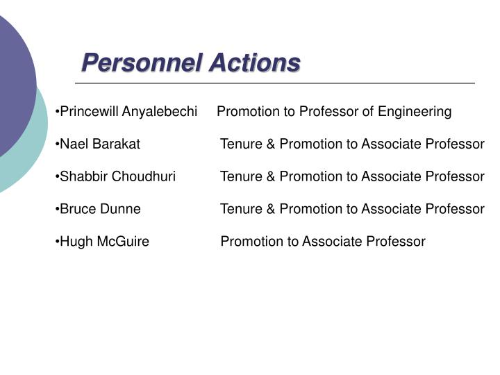 Personnel Actions