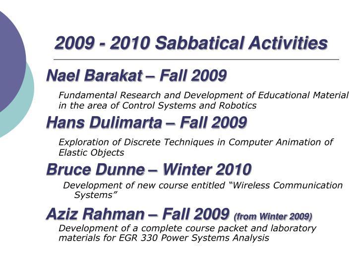 2009 - 2010 Sabbatical Activities