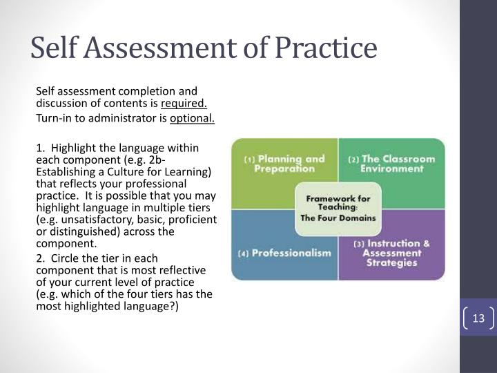 Self Assessment of Practice