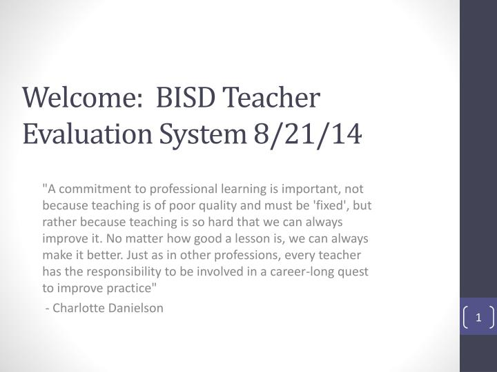 Welcome bisd teacher evaluation system 8 21 14