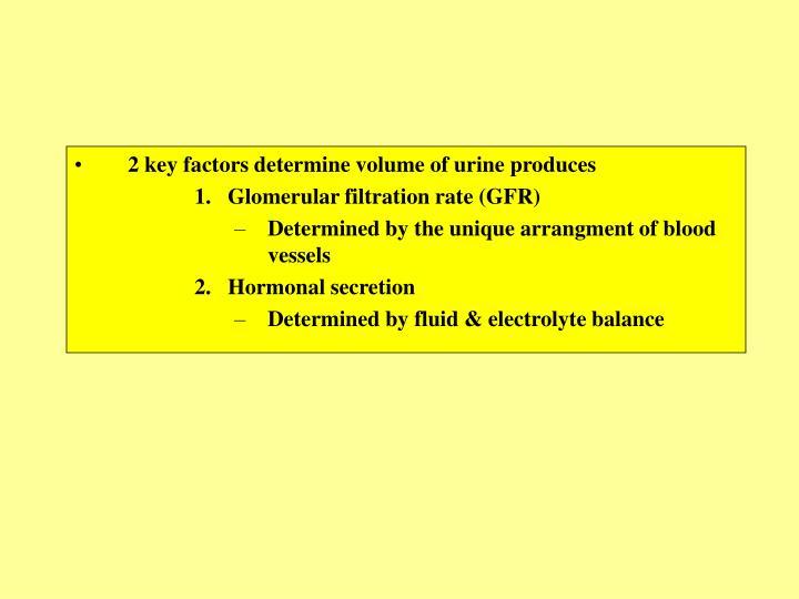 2 key factors determine volume of urine produces