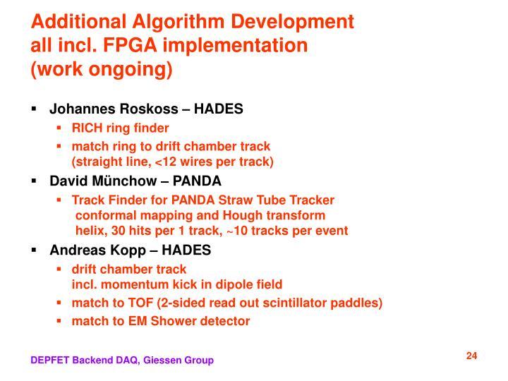 Additional Algorithm Development