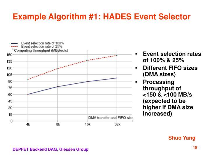 Example Algorithm #1: HADES Event Selector