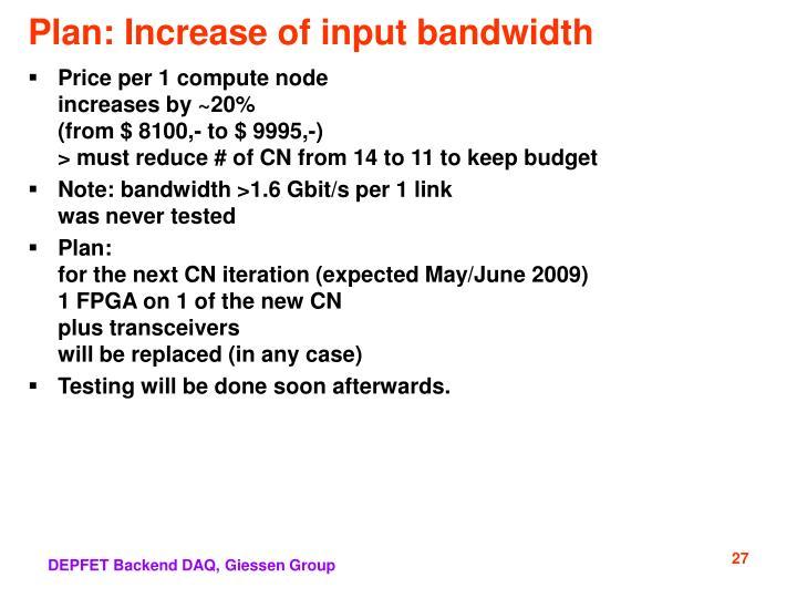 Plan: Increase of input bandwidth