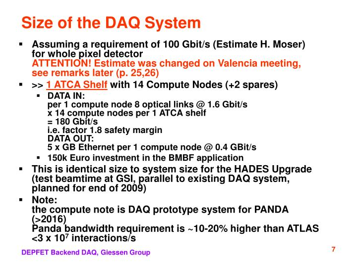 Size of the DAQ System