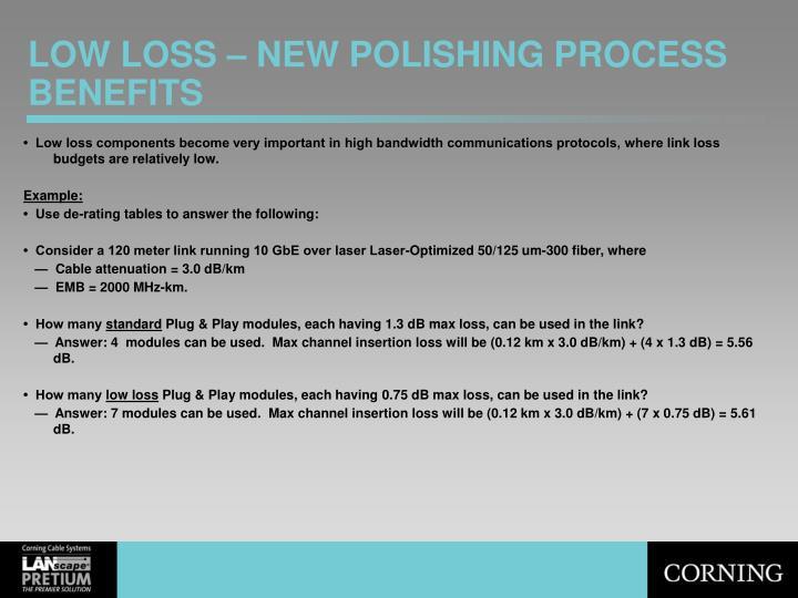 LOW LOSS – NEW POLISHING PROCESS BENEFITS