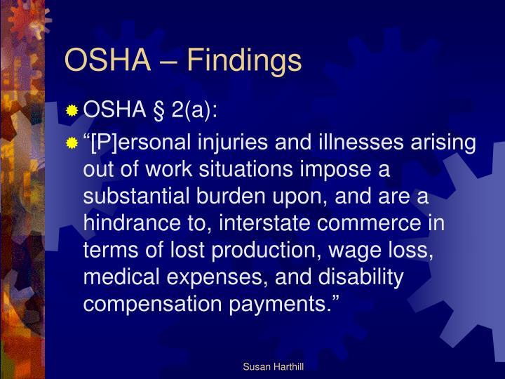 OSHA – Findings