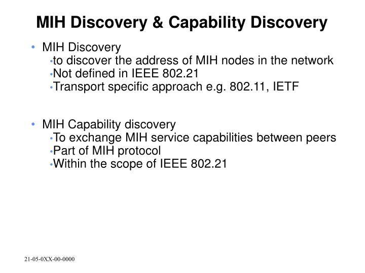 MIH Discovery & Capability Discovery
