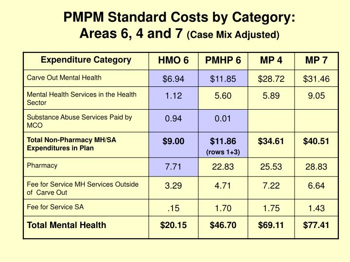 PMPM Standard Costs by Category: