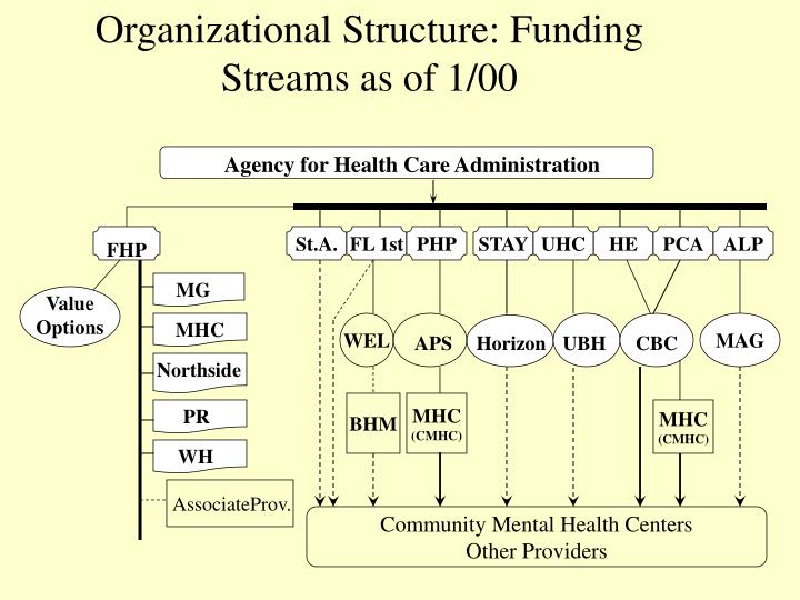 Organizational Structure: Funding Streams as of 1/00