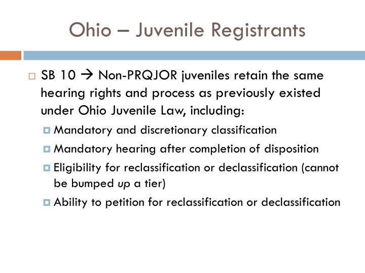 Ohio – Juvenile Registrants