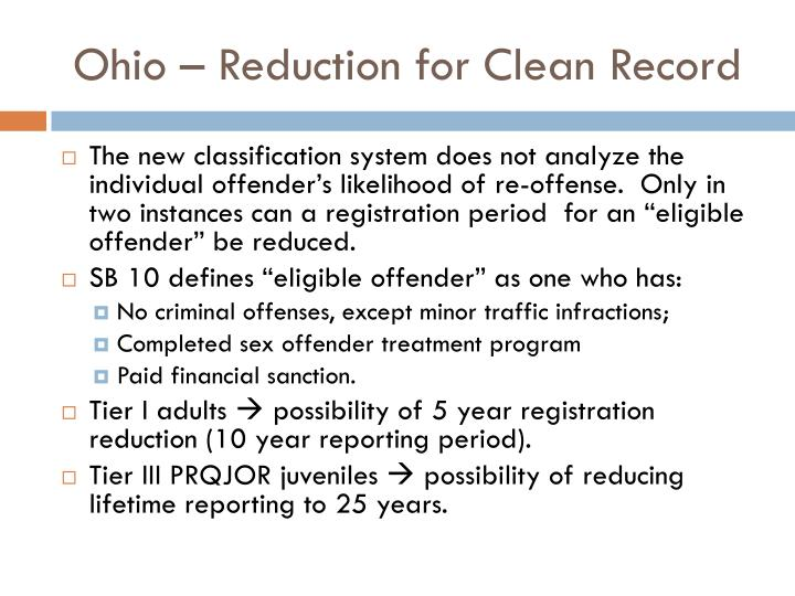Ohio – Reduction for Clean Record