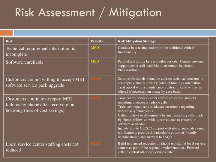Risk Assessment / Mitigation