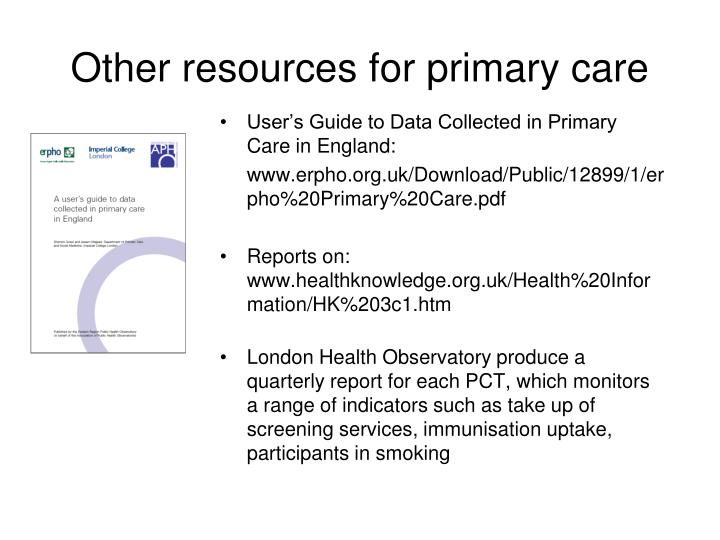 Other resources for primary care
