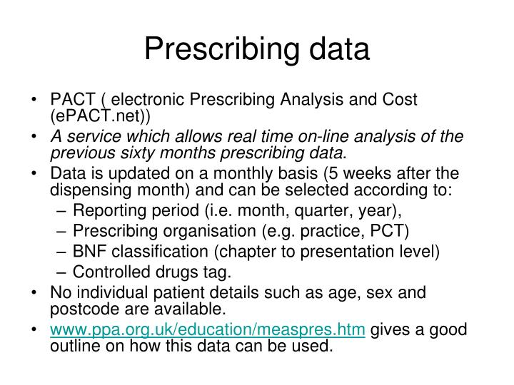 Prescribing data