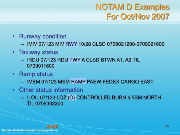 NOTAM D Examples