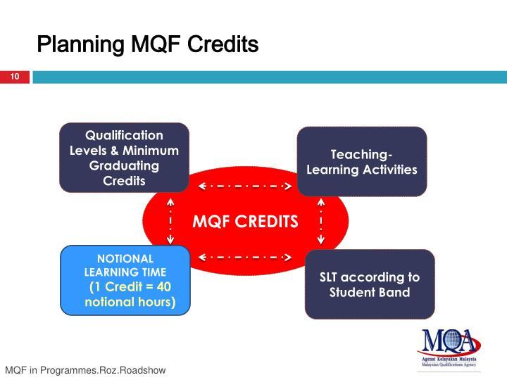 Planning MQF Credits