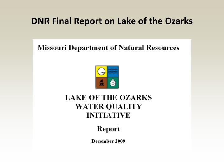 DNR Final Report on Lake of the Ozarks