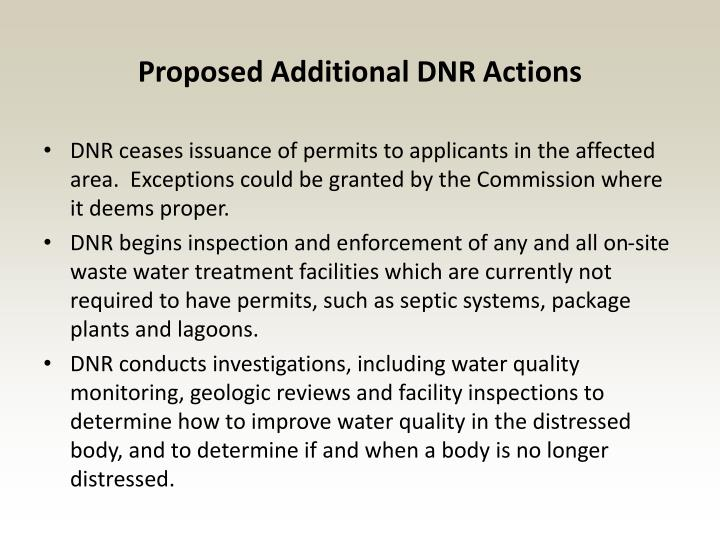 Proposed Additional DNR Actions