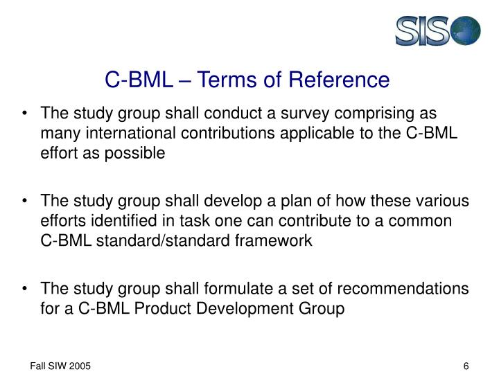 C-BML – Terms of Reference