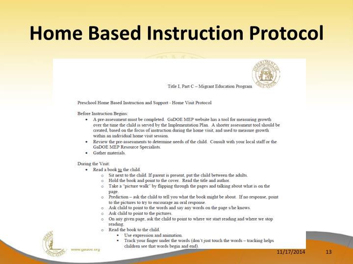 Home Based Instruction Protocol