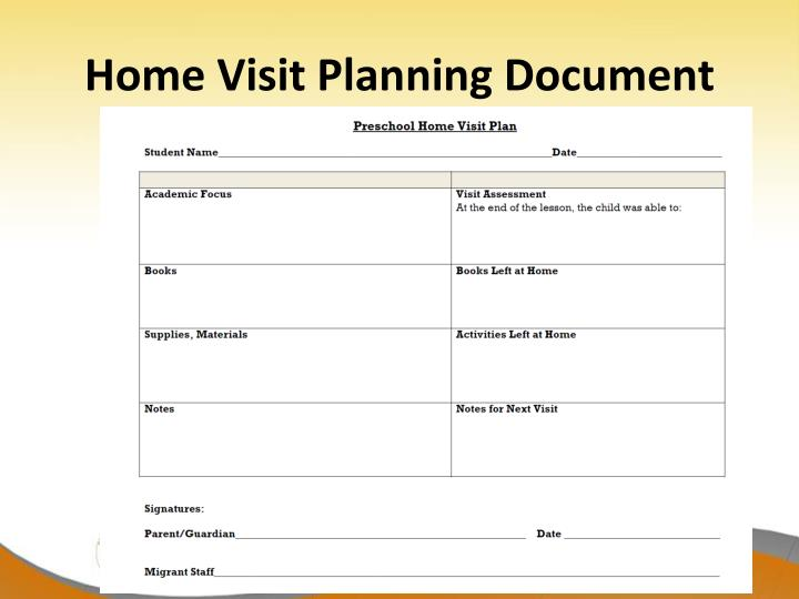 Home Visit Planning Document