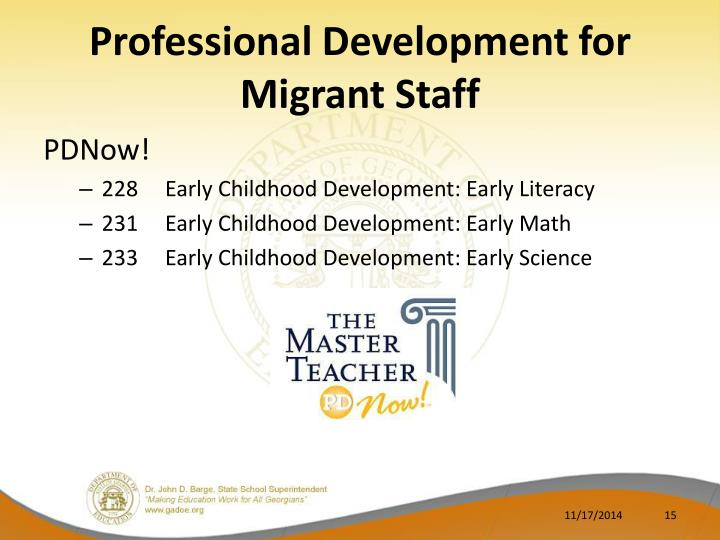 Professional Development for Migrant Staff