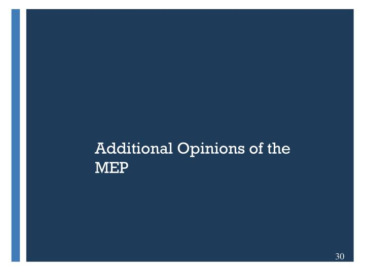 Additional Opinions of the MEP