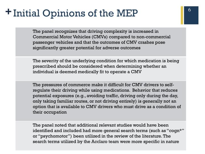 Initial Opinions of the MEP