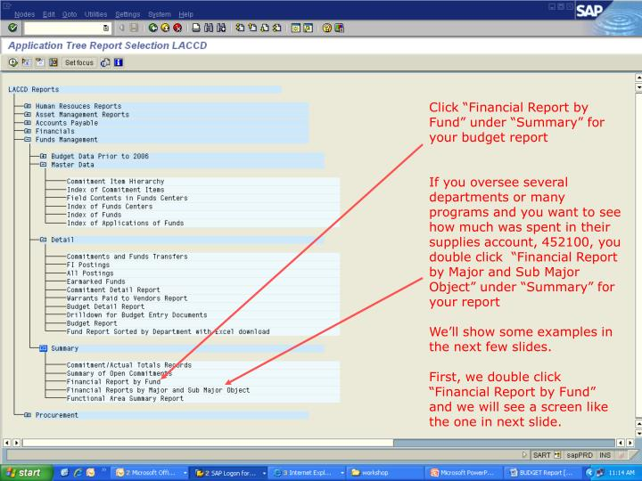 """Click """"Financial Report by Fund"""" under """"Summary"""" for your budget report"""