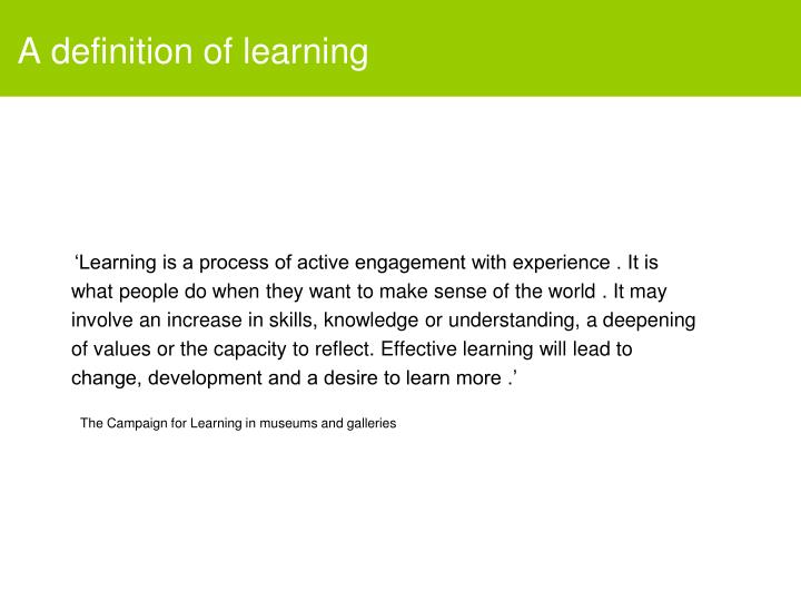 A definition of learning
