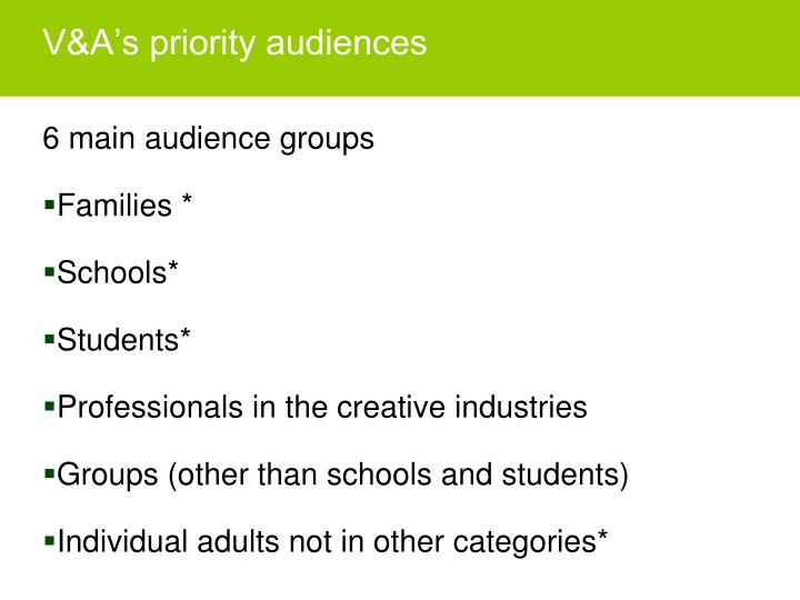 V&A's priority audiences