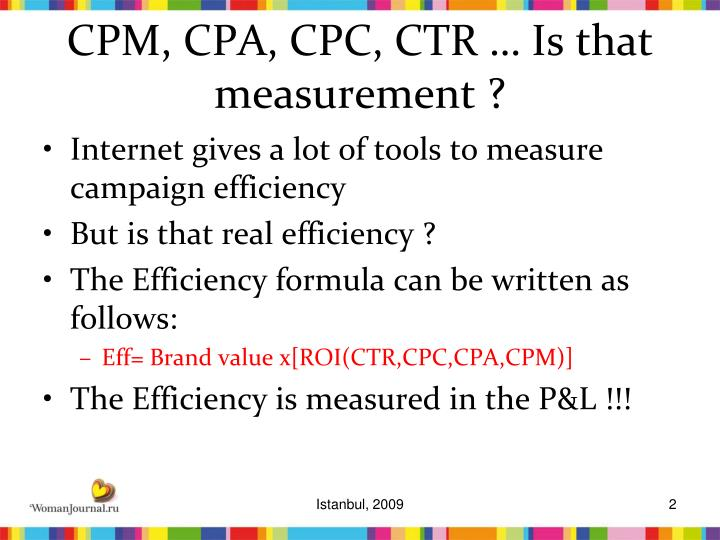 Cpm cpa cpc ctr is that measurement