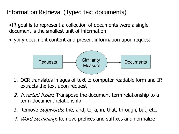 Information Retrieval (Typed text documents)