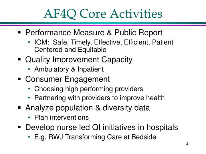 AF4Q Core Activities