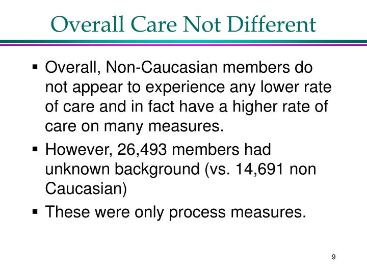 Overall Care Not Different