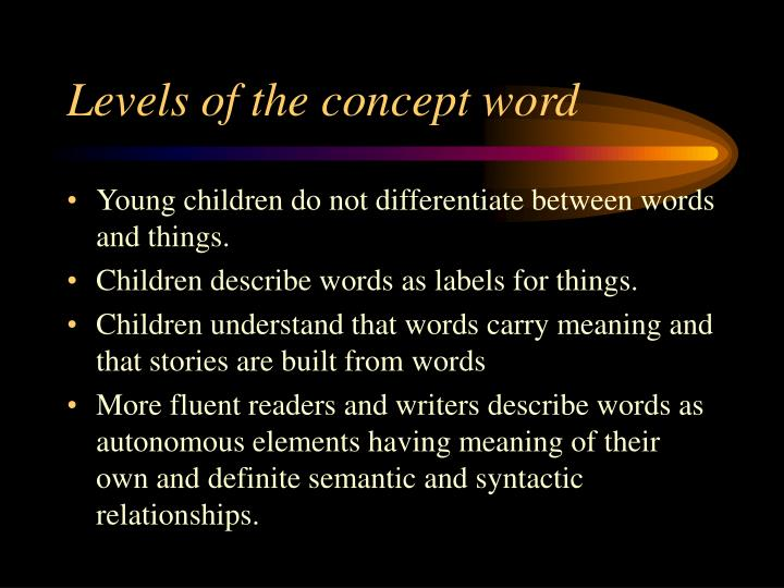 Levels of the concept word