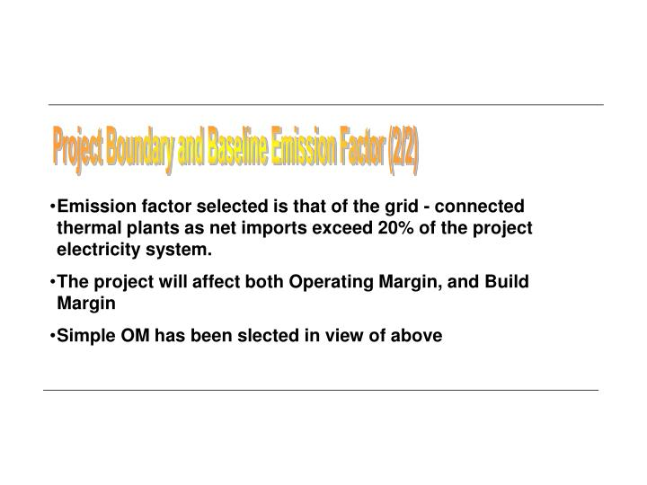 Project Boundary and Baseline Emission Factor (2/2)