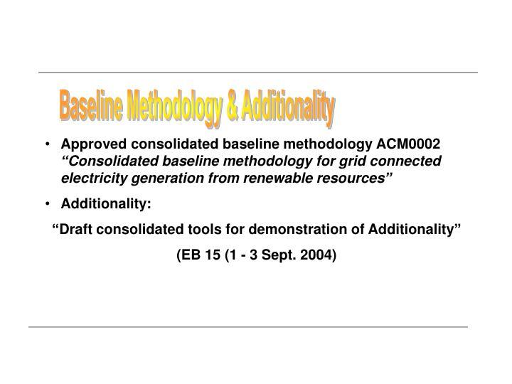 Baseline Methodology & Additionality