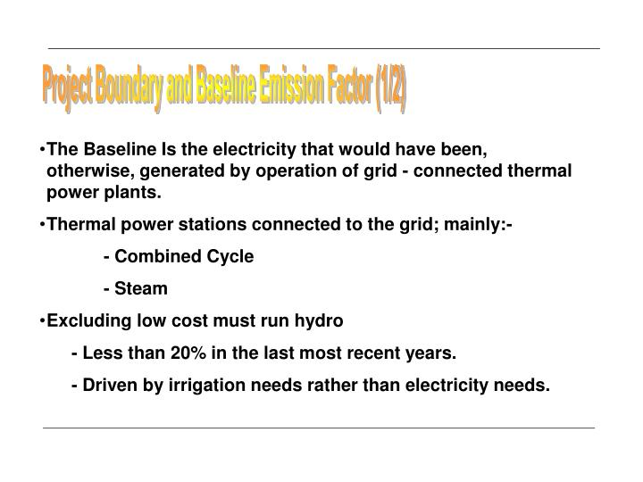 Project Boundary and Baseline Emission Factor (1/2)