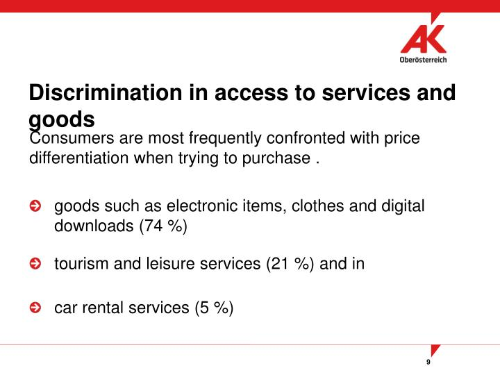 Discrimination in access to services and goods