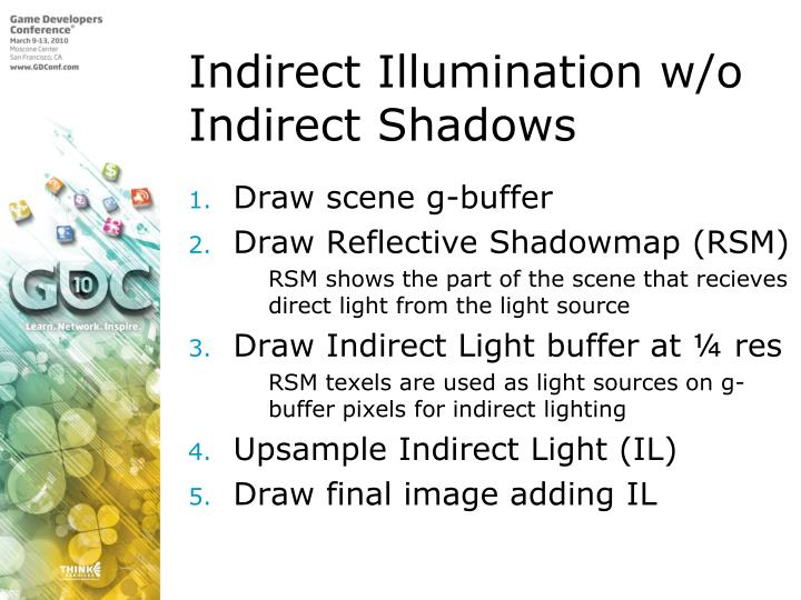 Indirect Illumination w/o Indirect Shadows