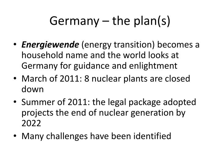 Germany – the plan(s)